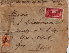 MAROC - 1921 LETTRE CASABLANCA POUR LYON RHÔNE - Marruecos (1891-1956)