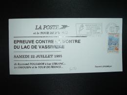 CARTE LA POSTE Et Le TOUR DE FRANCE TP ORLEANS 2,80 OBL.MEC;22-7-1995 ROYERE DE VASSIVIERE (23) EPREUVE CONTRE LA MONTRE - Ciclismo