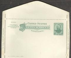 Etats-Unis Carte Lettre Sheet Entier Postal 1879 Grant 2 Cents Vert Gomme Intacte Non Pliée Etat Neuf