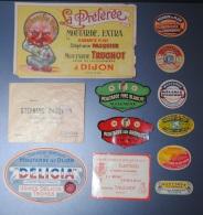 Lot De 10 étiquettes Différentes Marques De Moutarde De Dijon - Advertising