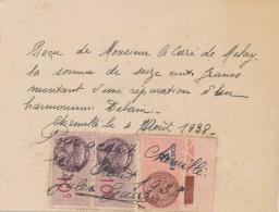 Timbres Taxes Sur Reçu De Paiement Carte De Visite J. GUERIN Accordeur Harmoniums à Chemillé (49 Maine Et Loire) - Taxes