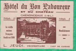 37 - Chenonceaux - Carte De Visite - Hôtel Du Bon Laboureur - Visiting Cards