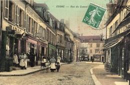 COSNE-COURS-SUR-LOIRE RUE DU COMMERCE (CARTE TOILE ET COLORISEE) - Cosne Cours Sur Loire