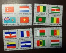 UNO NY Flaggen Satz 348 -63  Gestempelt  Viererblock   #4688 - Briefmarken