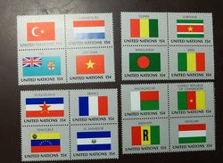 UNO NY Flaggen Satz 348 -63  ** MNH  Viererblock   #4689 - Briefmarken