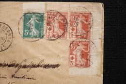 Paire Carnet Croix Rouge Semeuse N°147b  Sur Lettre Recommandée Castellane 29/10/15 Rare - Storia Postale