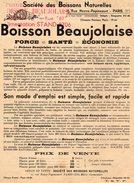 VP7328 - Document Publicitaire De La Société Des Boissons Naturelles - Boisson Beaujolaise à PARIS - Werbung