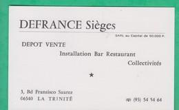 06 - La Trinité - Carte De Visite - Defrance - Dépôt Vente - Installation Bar Restaurant - Cartoncini Da Visita