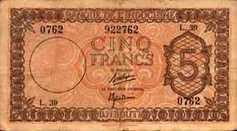 DJIBOUTI Banque Indochine 5 FRANCS Du 19-2-1945nd  Pick 14 - Gibuti