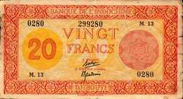 DJIBOUTI Banque Indochine 20 FRANCS Du 19-2-1945nd  Pick 15 - Djibouti