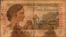 DJIBOUTI Banque Indochine 100 FRANCS Du 1946nd  Pick 19A  RARE - Djibouti