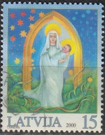 Latvija 2000 Michel 536 O Cote (2013) 0.70 Euro Noël Madonne Avec Enfant Cachet Rond - Lettonie