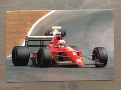 Cartolina N. Mansell Ferrari F1 1990 Con Annullo Sul Retro Trofeo Enzo Ferrari Int. Giov. Calcio Maranello 1-4-1991 - Grand Prix / F1