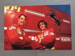 Cartolina N. Mansell E A. Prost F1 1990 Con Annullo Sul Retro Trofeo Enzo Ferrari Int. Giov. Calcio Maranello 1-4-1991 - Grand Prix / F1