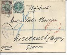 Registered Letter  D'Edimburgh >> Mirecourt 1901 Timbres 92, 97