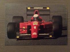 Cartolina A. Prost Ferrari F1 1990 Con Annullo Sul Retro Trofeo Enzo Ferrari Int. Giov. Calcio Maranello 1-4-1991 - Grand Prix / F1