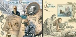 Togo 2012, C. Darwin, Frogs, Fish, Evolution, 4val In BF +BF - Rane