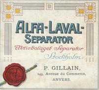 Publicité Ecrèmeuses Alfa Laval P. Gillain, Anvers (Agriculture) - Publicités