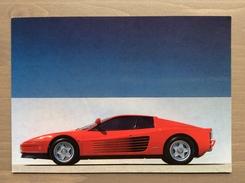Cartolina Ferrari Testarossa Con Annullo Sul Retro Trofeo Enzo Ferrari Int. Giov. Calcio Maranello 1-4-1991 - Grand Prix / F1