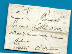 Manche - Avranches Pour Un Abbé à Coutances. LAC En Port Payé De 1810 écrite à ARDEVON. Indice 12 - Postmark Collection (Covers)