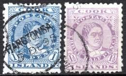 Cook Is. 1896. The 1 And 1½ Pence, Queen Makea Takau Ariki, Used At Rarotonga - Islas Cook