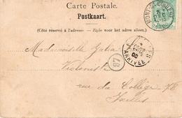 Mont-Saint- Guibert Ixelles Carte Postale Timbre 56 - 1893-1907 Armoiries