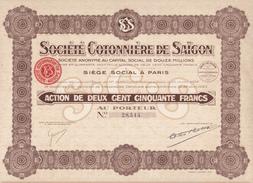 Indochine - Société Cotonnière De Saigon - Capital De 12 000 000 F / Action De 250 F - Asie