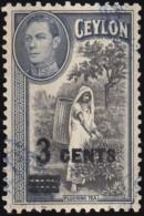 CEYLON - Scott #290 Picking Tea 'Surcharged' / Used Stamp - Ceylon (...-1947)