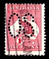 Australia 1913 Kangaroo 1d Red 1st Wmk Perf Large OS Used - Used Stamps