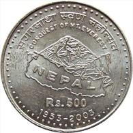 NEPAL RUPEE 500 SILVER COMMEMORATIAVE COIN EVEREST GOLDEN JUBILEE 2003 KM-1163 UNCIRCULATED UNC - Népal