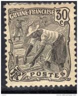 Guyane N° 57 X Série Courante : Laveur D´or : 30 C. Noir, Trace Charnière Sinon TB