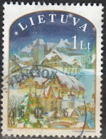 Lietuva 2003 Michel 830 O Cote (2013) 1.00 Euro Noël Paysage D'hiver Cachet Rond - Lituanie