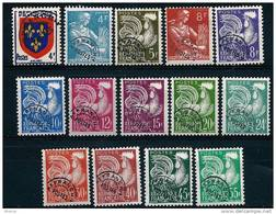 """Préo YT 105 à 118 """" Ecusson, Coq, Moissonneuse, 14 Val. """" 1953-59 Neuf ** - 1953-1960"""