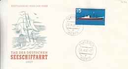République Fédérale - Lettre FDC De 1957 - Oblitération Lorch - Bateaux - Valeur 13 Euros - BRD