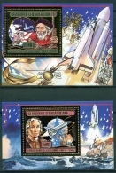 Central African Republic, 1985, Death Of Columbus, Space Shuttle, MNH Sheets, Michel Block 371-372A - Central African Republic