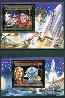 Central African Republic, 1985, Death Of Columbus, Space Shuttle, MNH Sheets, Michel Block 371-372A - Repubblica Centroafricana