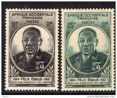 A. O.F. N° 2 / 3 X Gouverneur Félix Eboué  La Paire Trace De Charnière Sinon TB
