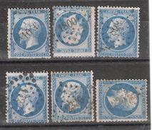 Lot De 6 Empire N° 22 , 20 C Bleu, Tous Obl Pc Petits Chiffres, Ensemble B/TB - 1862 Napoléon III