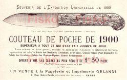 Papeterie Imprimerie ORLANDI       Publicité EXPO Universelle PARIS 1900  Couteau De Poche  TOP Illustration