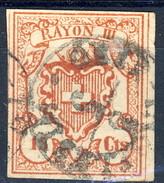 Svizzera 1852 Poste Federali Rayon III N. 24 Cs, 15 Rosso Mattone Usato TB  (A. Diena) Cat. €1400 - 1843-1852 Poste Federali E Cantonali