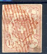 Svizzera 1852 Poste Federali Rayon III N. 23 R. 15 (cifre Grandi) Annullo Rosso Cat. € 180 - 1843-1852 Poste Federali E Cantonali