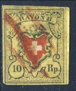Svizzera 1850 Poste Federali Rayon II N. 15 R. 10 Giallo Nero E Rosso Annullato  Cat. € 190 - 1843-1852 Poste Federali E Cantonali