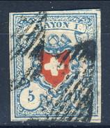 Svizzera 1851 Poste Federali Rayon I N. 20 R. 5 Azzurro Chiaro E Rosso, Carta Spessa Annullato Cat. € 180 - 1843-1852 Poste Federali E Cantonali
