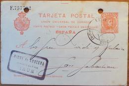 WP205 España Spain Espagne Spanien Cadete Entero Postal Alfonso XIII Irún Estafeta De Cambio 1908 - 1889-1931 Royaume: Alphonse XIII