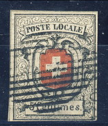 Svizzera 1851 Poste Cantonali Neuchatel N. 7 C. 5 Nero E Rosso Usato LUX Cat € 5000 (E. Diena, Raybaudi) ATTEST-PER - 1843-1852 Poste Federali E Cantonali