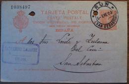 WP206 España Spain Espagne Spanien Cadete Entero Postal Alfonso XIII Irún San Sebastian 1903 - 1889-1931 Royaume: Alphonse XIII