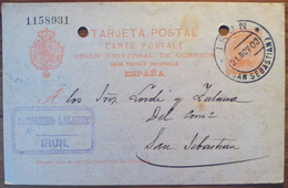 WP212 España Spain Espagne Spanien Cadete Entero Postal Alfonso XIII Irún San Sebastian 1902 - 1889-1931 Royaume: Alphonse XIII