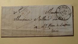 St Marcelin PP Rouge  Isere 27 Juin 1846 Sur Lettre - Marcophilie (Lettres)