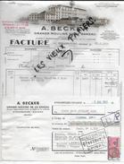 67 - Bas-rhin - STRASBOURG-NEUHOF - Facture BECKER - Grands Moulins De Ganzau - 1954 - REF 52D - France