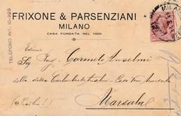 5750.   Frixone & Parsenziani - Milano - Commerciale - 1916 Per Marsala - Commercio